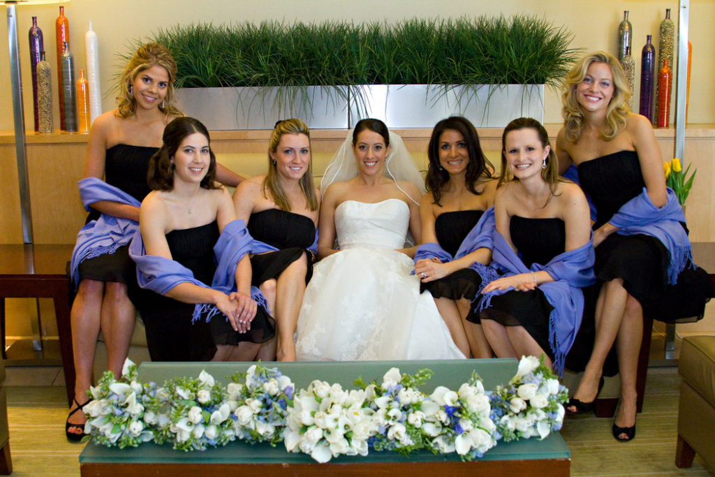 black white blue wedding bridesmaids