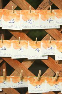 orange escort cards
