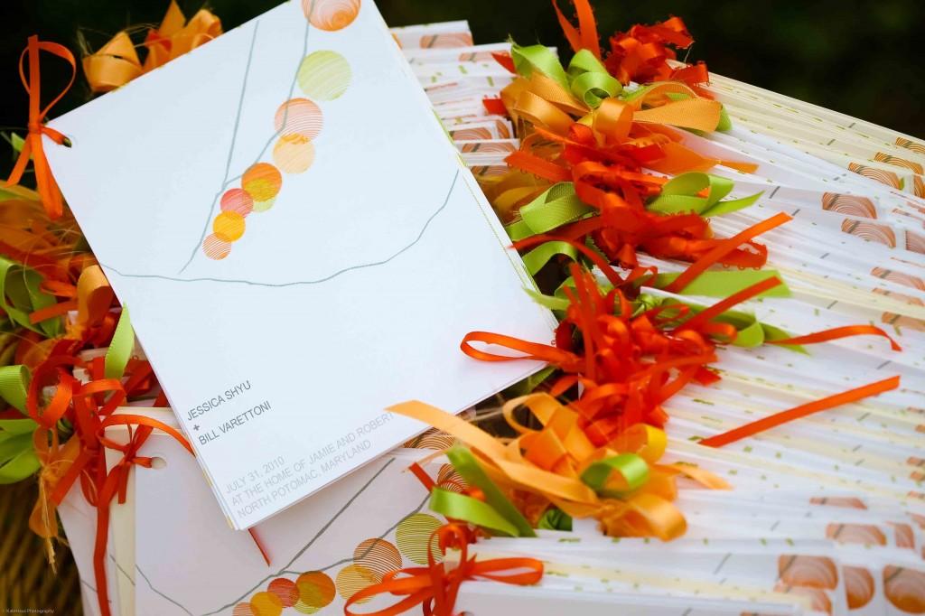 orange green lanterns wedding ceremony programs