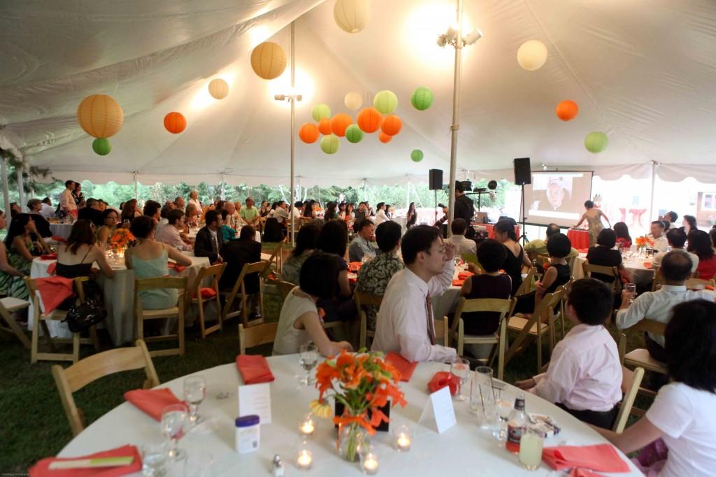 Maryland backyard wedding pole tent paper lanterns