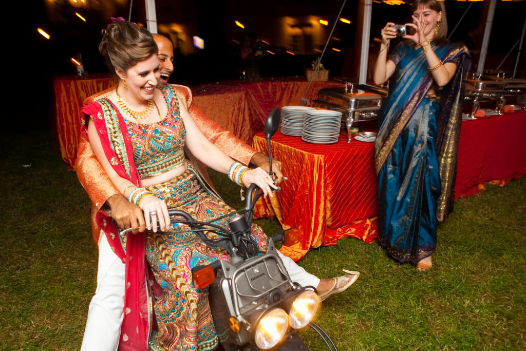 indian_fusion_wedding_entrance_introduction_scooter