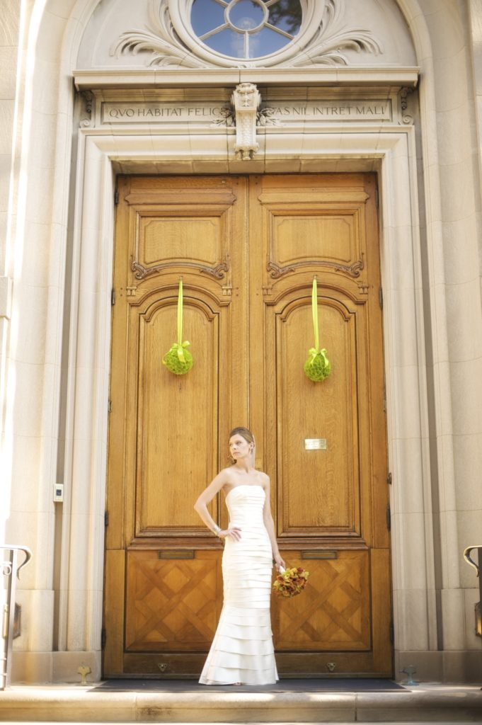 meridian house wedding washington dc front door pomander green flowers