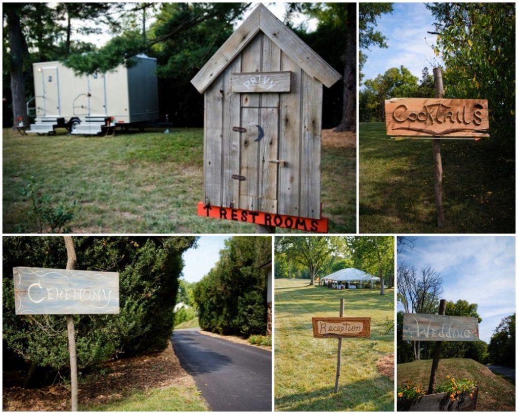 backyard wedding rustin signage