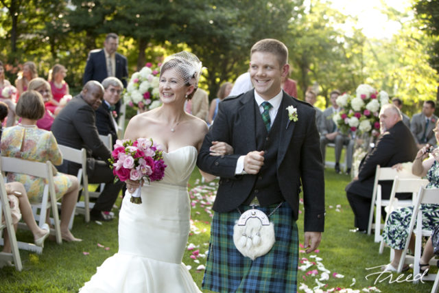Washington DC Meridian House wedding Scottish kilt groom pink green