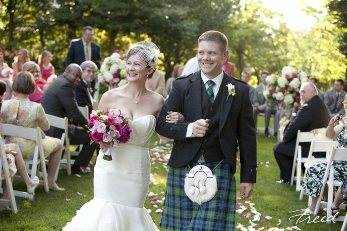 Washington DC Meridian House wedding Scottish kilt groom pink green