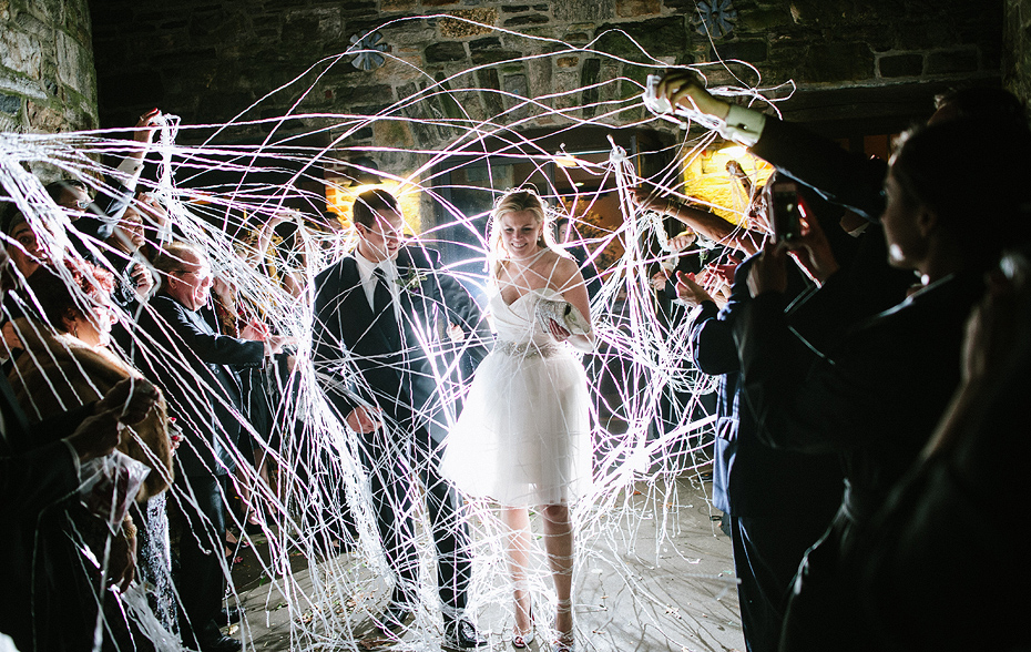 Blue-Hill-Stone-Barns-Wedding-New York silly string exit