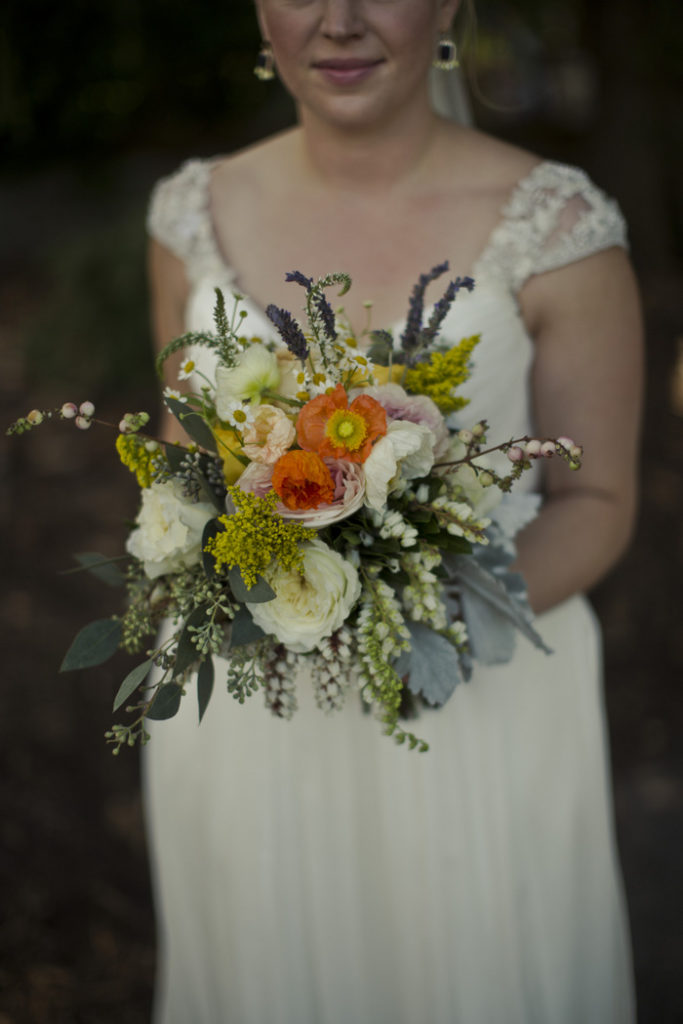 bridal bouquet orange california poppies