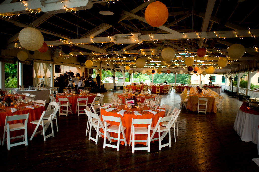 Bumper Car Pavilion Glen Echo Park wedding reception orange fuchsia lanterns