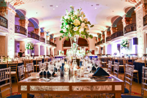 Washington DC Mayflower Hotel wedding antique mirror table clear chivari chairs blue