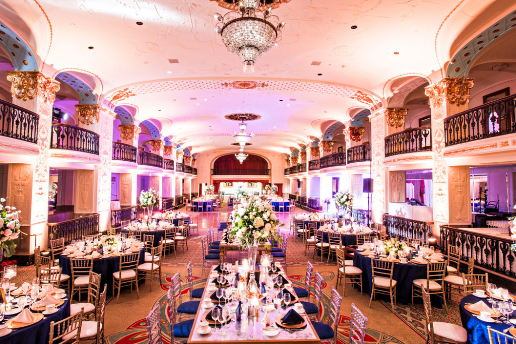 indian fusion wedding Washington DC Mayflower Hotel grand ballroom navy gold white