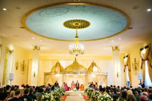 indian fusion wedding Washington DC Mayflower Hotel hindu christian ceremony gold dome mandap
