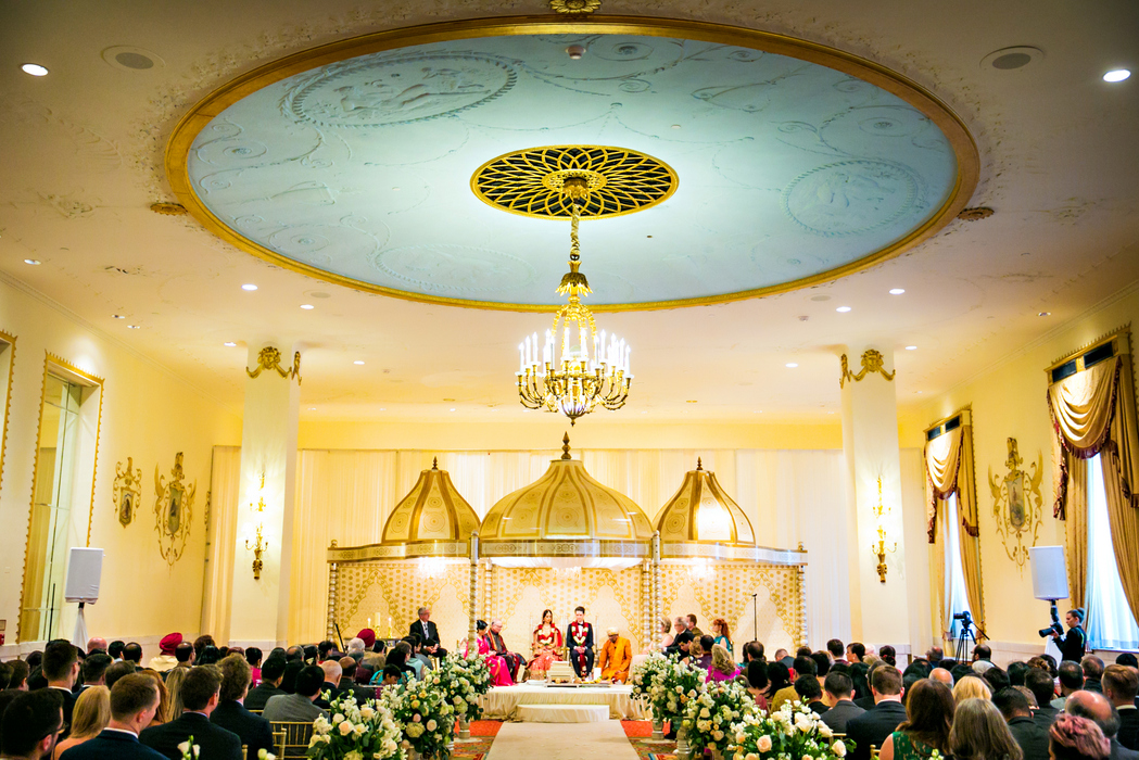 indian fusion wedding Washington DC Mayflower Hotel hindu christian ceremony gold dome mandap