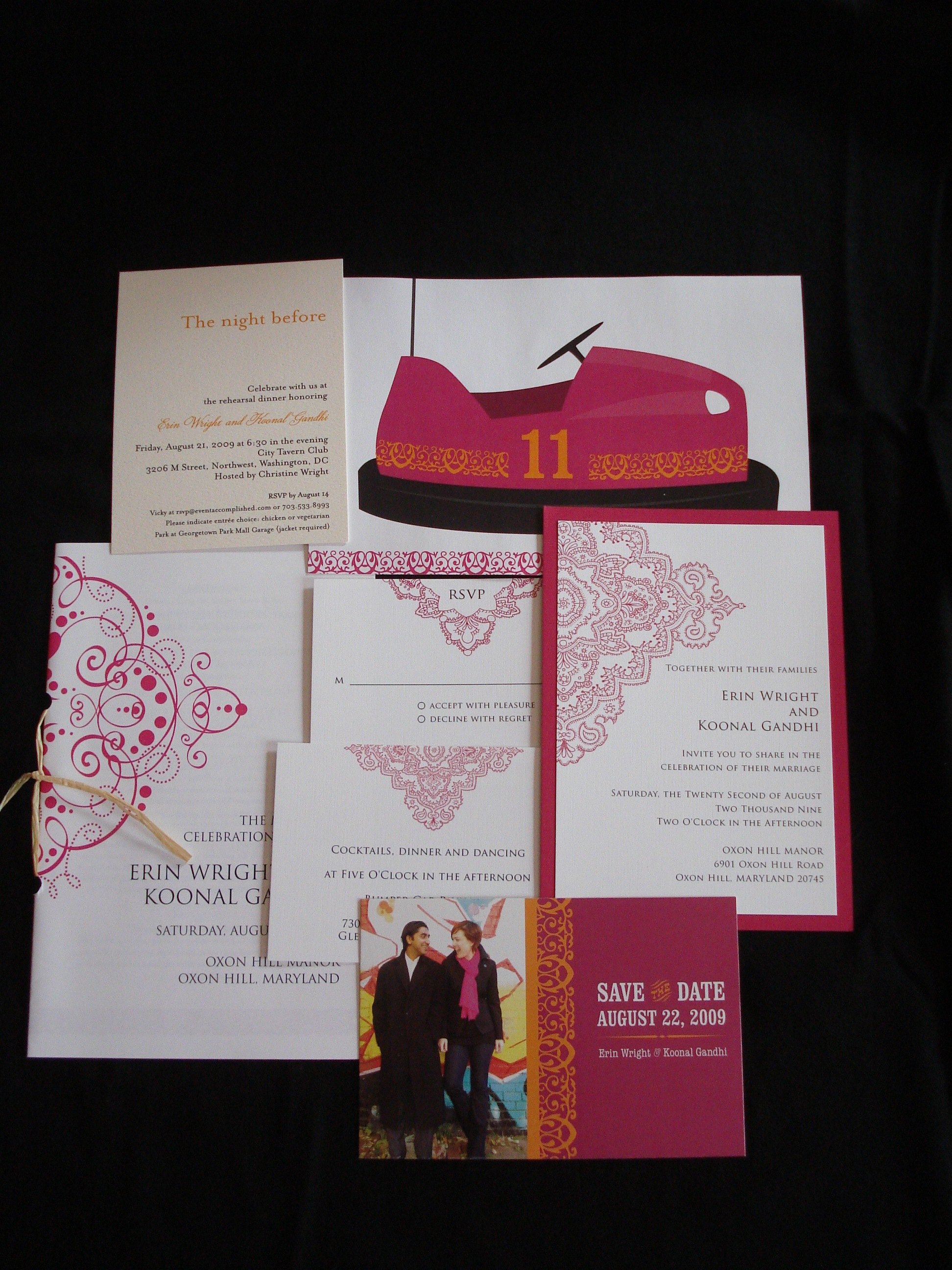 indian fusion wedding stationery carnival bumper car