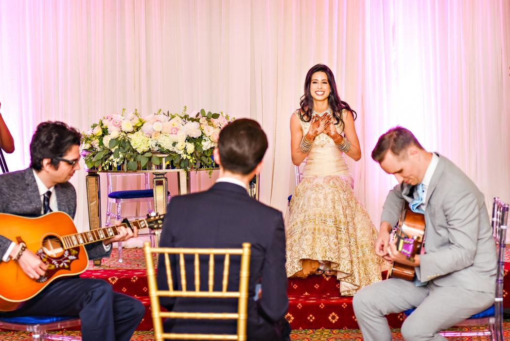 washington dc indian fusion wedding surprise serenade