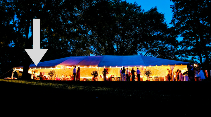 at home wedding tent summer fan