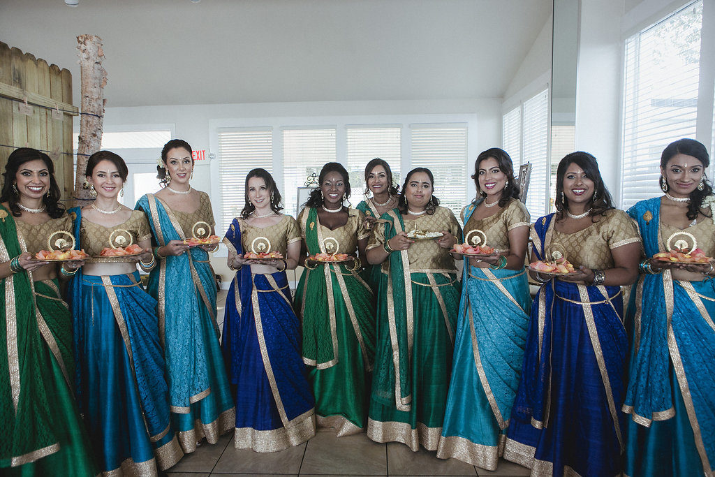 indian-fusion-wedding-bridesmaids-blues-greens-gold