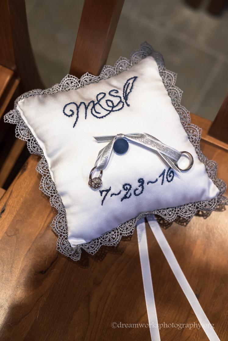 ring pillow monogram wedding date - Wedding Ring Pillow