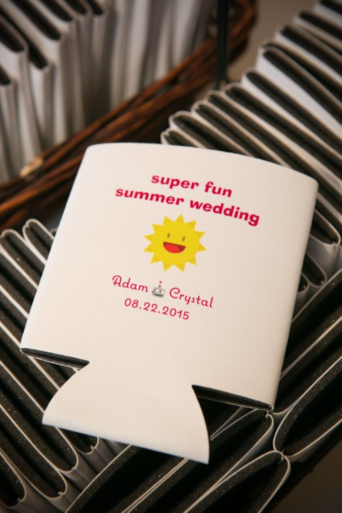 white drink koozie wedding favor