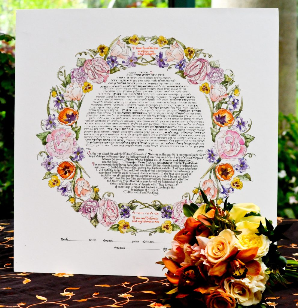 ketubah-jewish-wedding-round-painted-flowers