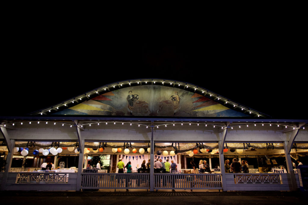 50th birthday party Glen Echo Park bumper car pavilion at night