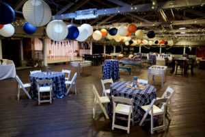 50th birthday party Glen Echo Park orange blue white