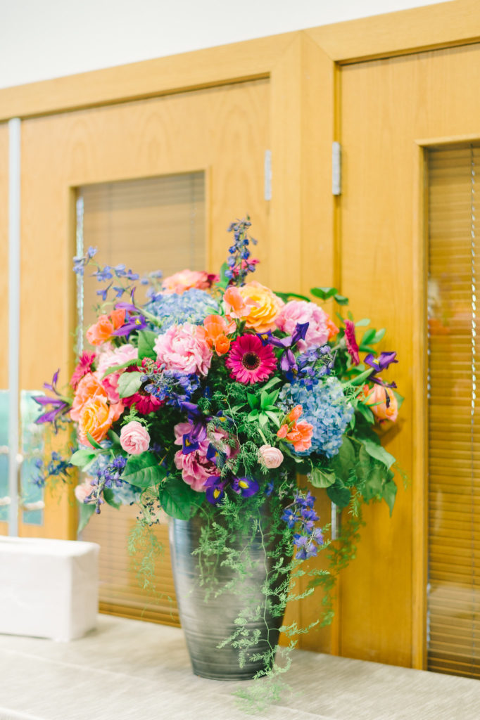 colorful-pink-blue-orange-purple-tall-floral-arrangement