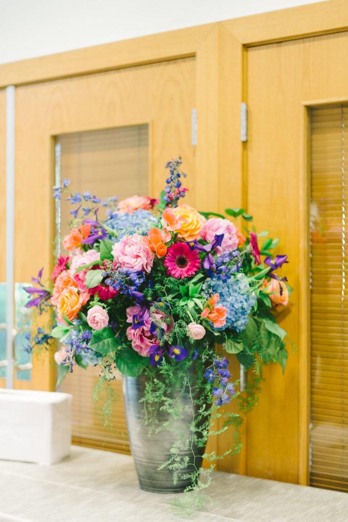 colorful-pink-blue-orange-purple-tall-floral-arrangement