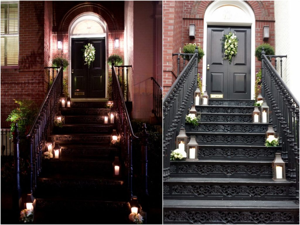 georgetown-washington-dc-home-party-staircase-lanterns-flowers