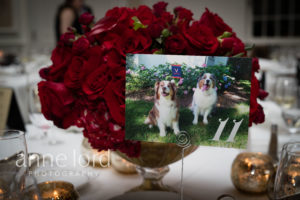 red floral centerpiece low dogs table numbers