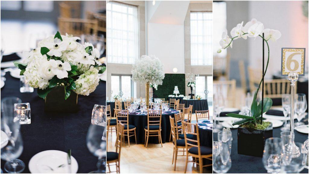 black-white-floral-centerpieces-wedding-orchids-babys-breath-anemones