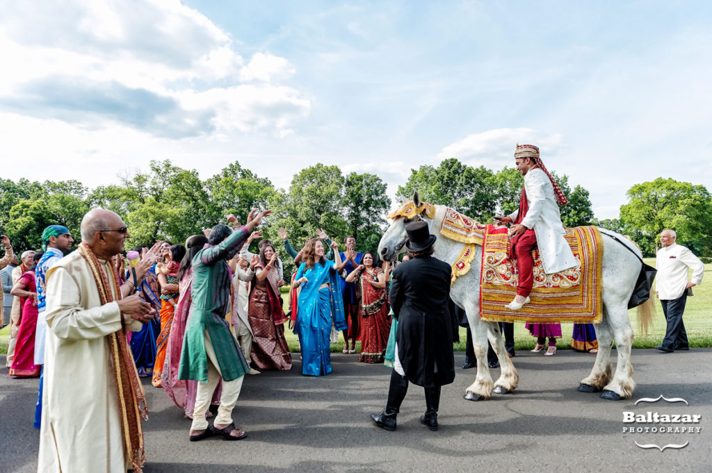 indian wedding baraat sunset crest manor chantilly va horse harmons carriages