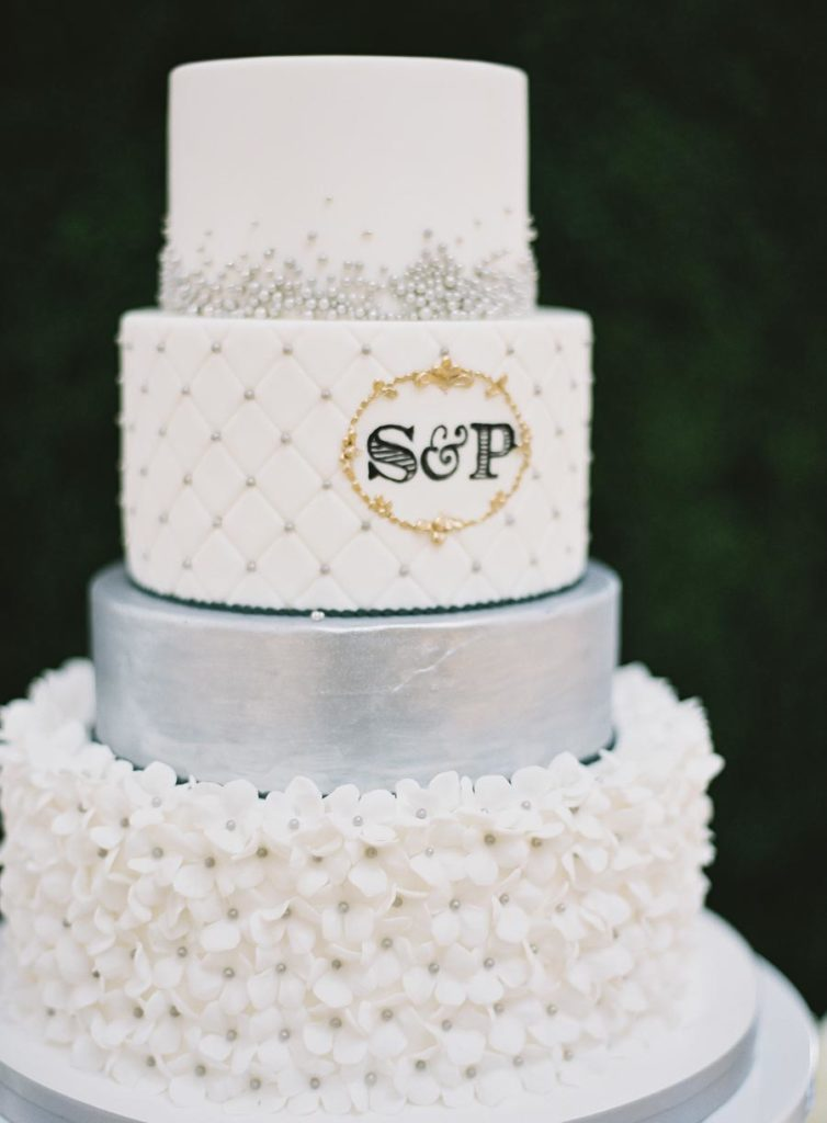 round-fondant-wedding-cake-fluffy-thoughts-silver-hydrangea-gold-monogram