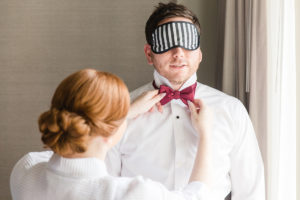 Fairmont Hotel Washington DC fall wedding groom bow tie
