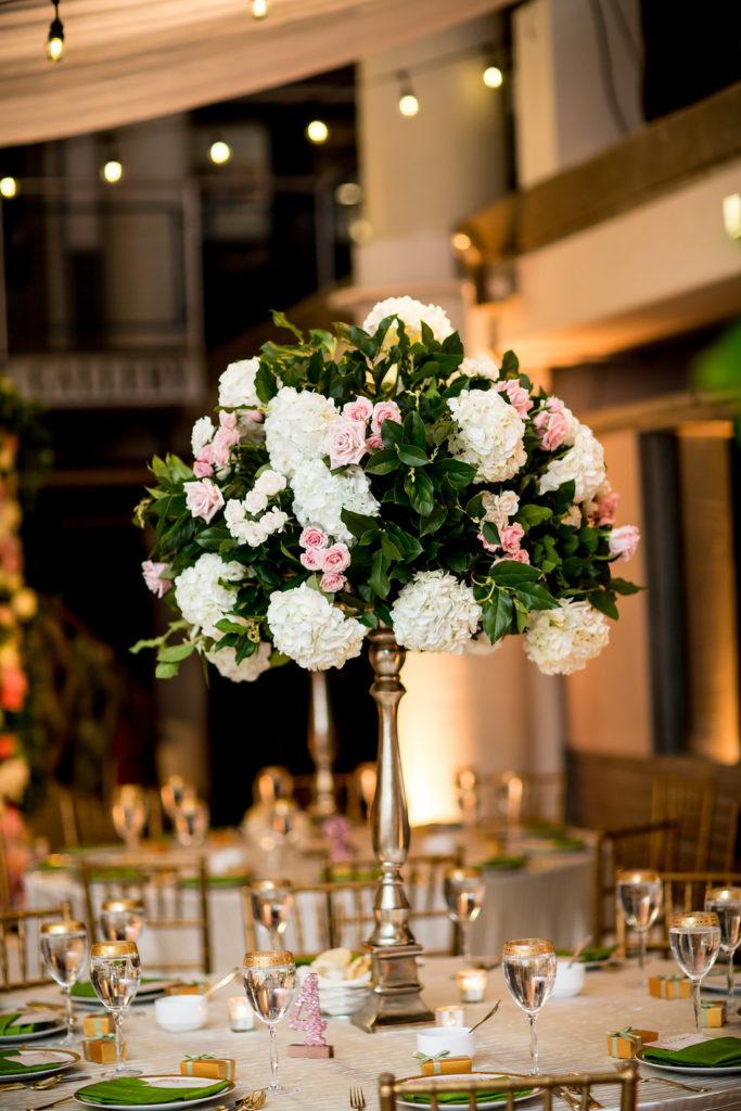 pink-green-gold-tall-floral-centerpiece-sweet-root-village-torpedo-factory-wedding