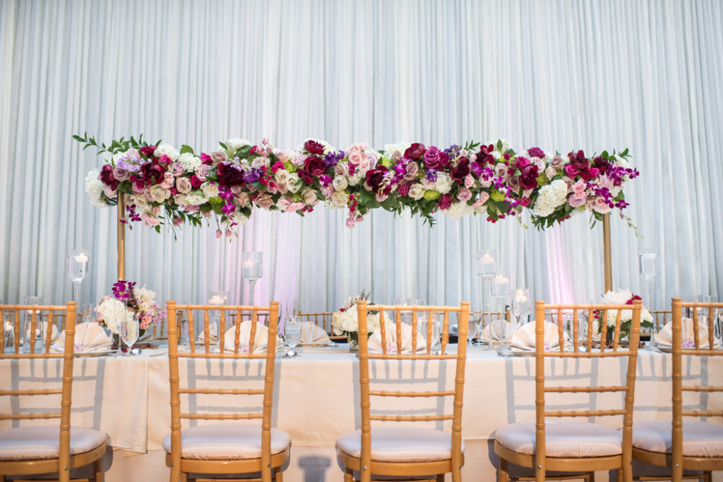 blush-pink-fuchsia-mauve-gold-kings-table-floral-centerpiece-tall