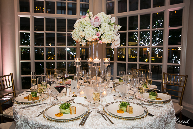 fairmont-hotel-washington-dc-wedding-colonnade-ballroom-tall-floral-centerpiece-pink-gold-ivory