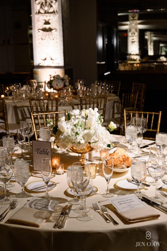 mayflower-hotel-wedding-gold-ivory-low-centerpieces