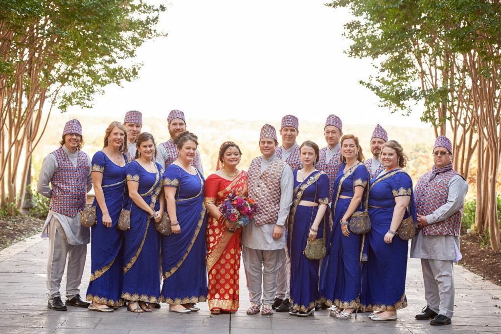 nepali-fusion-wedding-bridesmaids-groomsmen