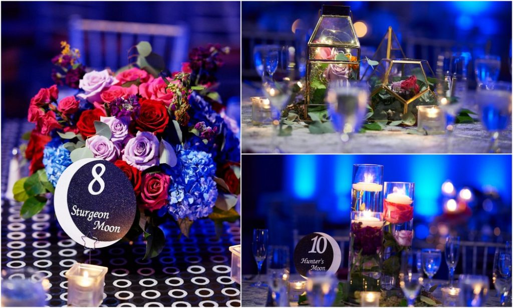 red purple blue fuchsia low floral centerpieces wedding