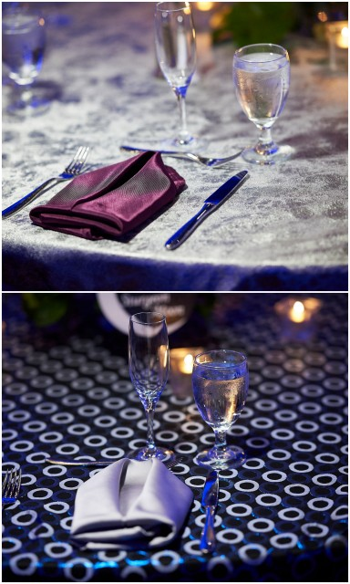 silver blue purple linens DC Rental
