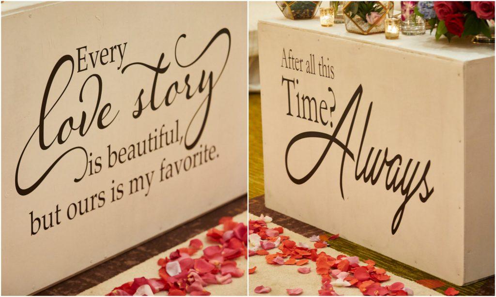 wedding ceremony aisle poem decals boxes