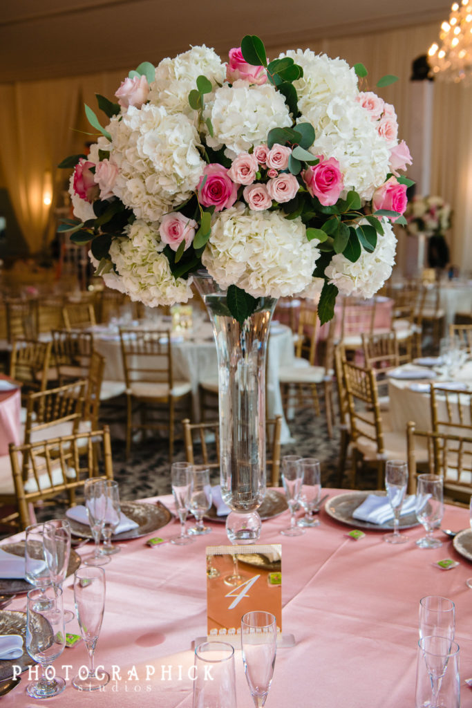 indian-wedding-pink-gold-tall-floral-centerpiece