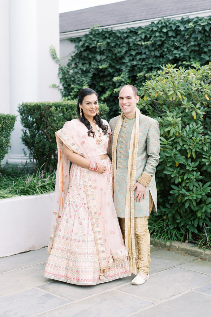 sangeet-indian-fusion-wedding-bride-groom-outfits