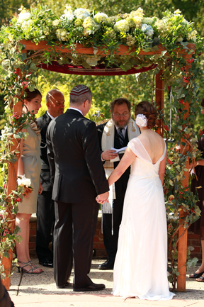 Jewish Wedding ceremony chuppah fall organic vine
